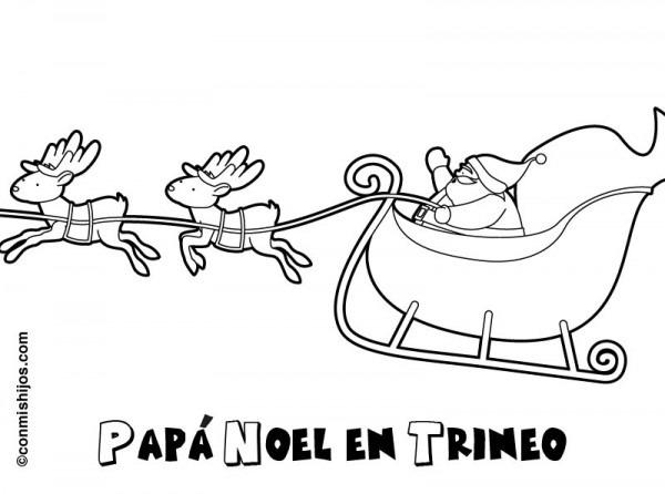 Dibujo De Papá Noel En Su Trineo Para Los Niños