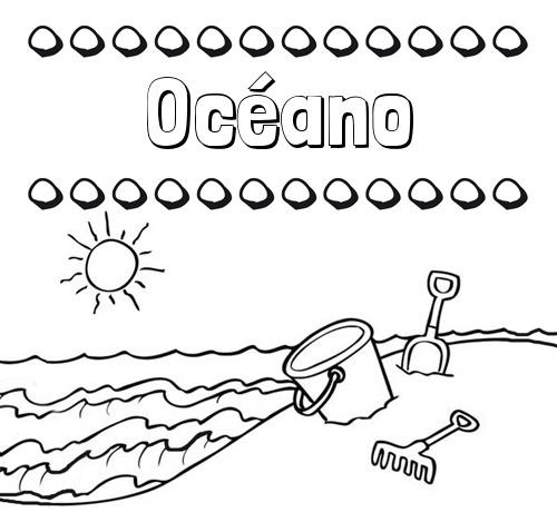 Nombre Océano  Nombres En La Playa  Dibujos Para Colorear