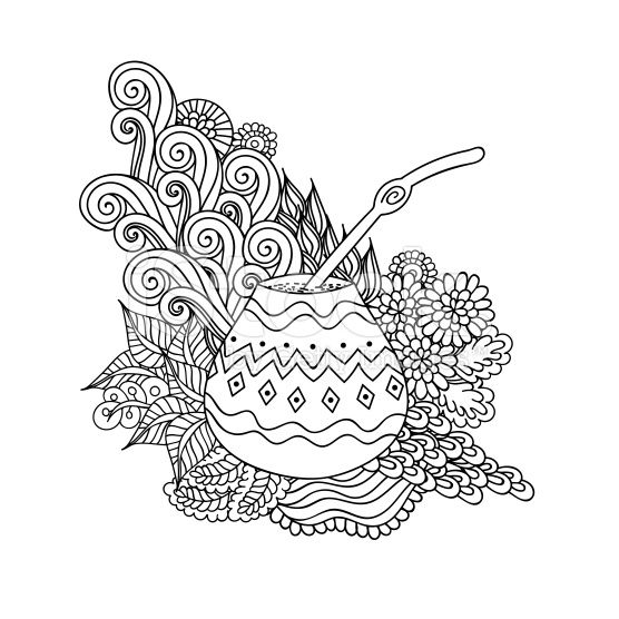 Yerba Mate Tea In Gourd And Straw, And Floral Wave Doodle Pattern