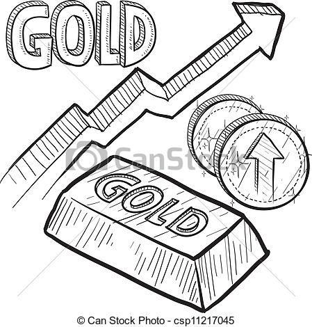 Vector  Lingote Y Monedas De Oro En Aumento, Bosquejo  Para