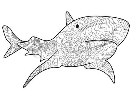Vector De Tiburones Para Colorear Para Adultos — Vector De Stock