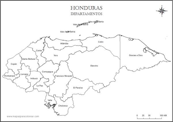 Mapa De Honduras Politico Mapas De Honduras Para Colorear