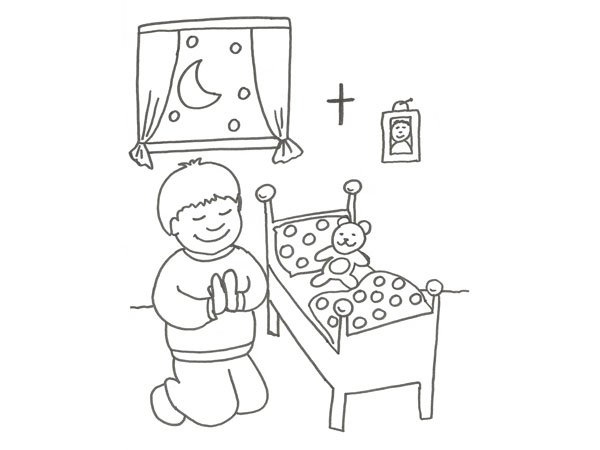 Dibujo Infantil De Un Niño Rezando Para Colorear