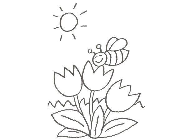 Dibujo De Una Abeja Sobre Un Tulipán Para Que Pinten Los Niños