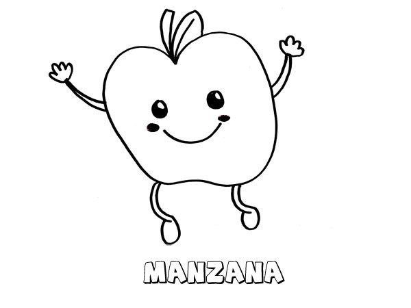 Dibujo De Una Manzana  Imágenes Para Pintar Con Niños
