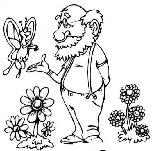 Dibujo De Mariposa Con Un Viejito Para Pintar Y Colorear Mariposa