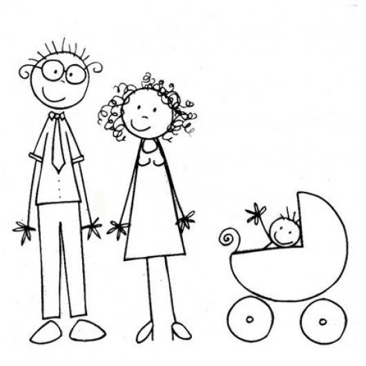Dibujo De Una Familia Joven Sin Experiencia Papa Mama Y Bebe En
