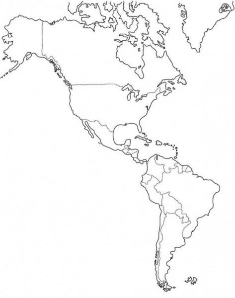 Dibujos De Mapas De América Y Paises Para Colorear