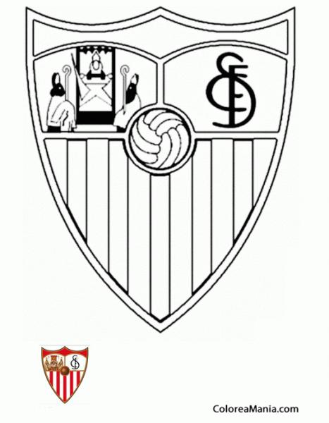 Colorear Sevilla Fútbol Club (escudos Equipos De Fútbol), Dibujo