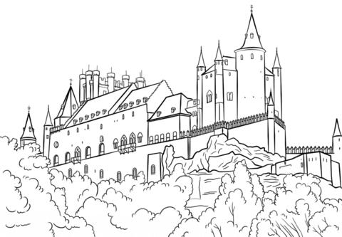 Dibujo De Fortaleza Alcázar De Segovia Para Colorear