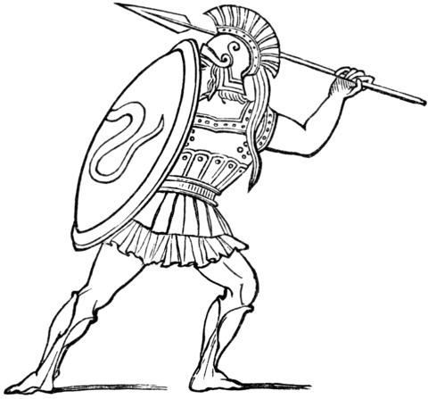 Dibujo De Soldado De La Antigua Grecia Para Colorear