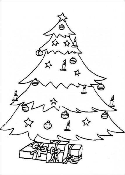 Dibujo Para Colorear Arbol De Navidad Adornado Con Lacitos