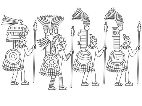 Dibujo De Guerreros Aztecas Para Colorear