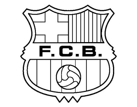 Dibujo De Un Escudo Del F C  Barcelona Para Pintar, Colorear O