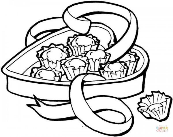 Dibujo De Caja De Chocolates Para Colorear