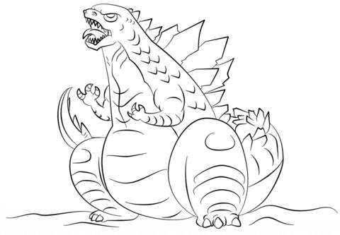 Dibujo De Dibujo De Godzilla Para Colorear