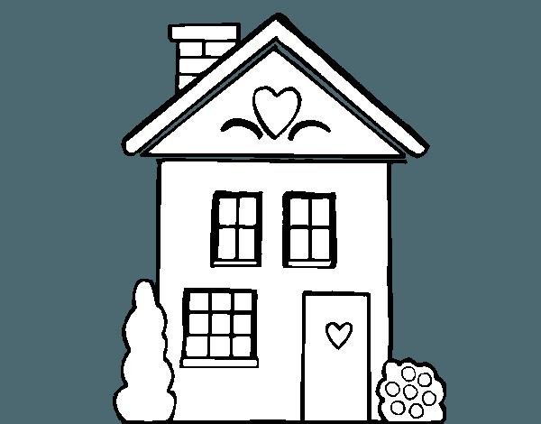 Dibujo De Casa Con Corazones Para Colorear