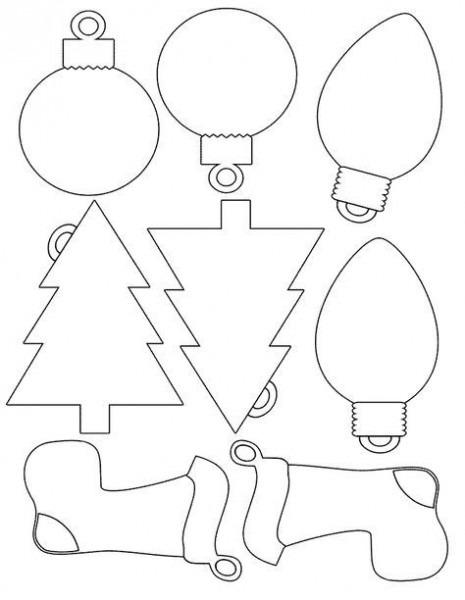 Colorear Dibujo Siluetas Adornos Navidad