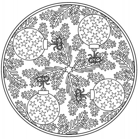 Dibujo De Mandala Navideña Con Bolas De Navidad Para Colorear