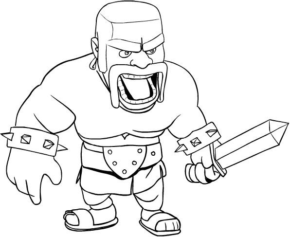 Dibujo De Barbarian De Las Clash Of Clans Para Colorear