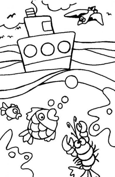 Dibujo De Barco En El Océano Para Colorear  Dibujos Infantiles De