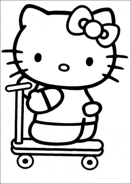Dibujo De Hello Kitty Con Patinete Para Colorear  Dibujos