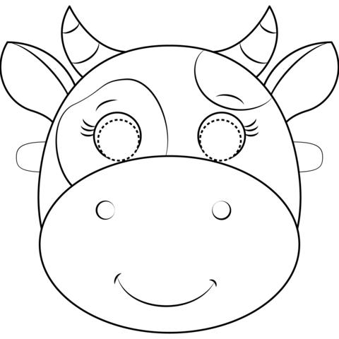 Dibujo De Máscara De Vaca Para Colorear