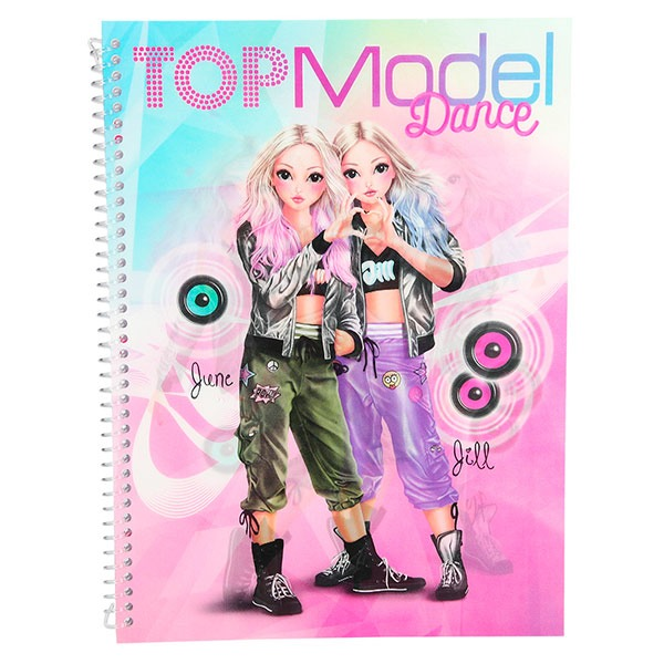 Cuaderno Para Colorear, Con Pegatinas Top Model Dance
