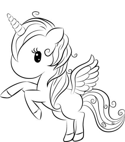 Dibujo De Unicornio Lindo De Dibujos Animados Para Colorear