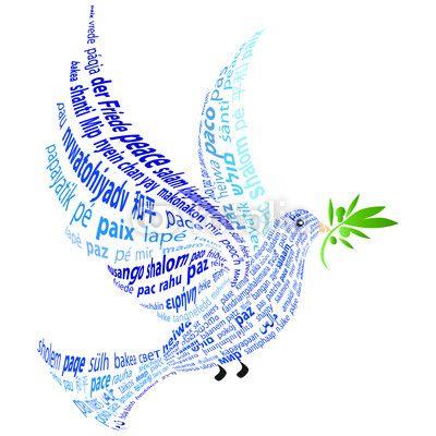 Fotomural Paloma Azul Con La Palabra  Paz  En Todos Los Idiomas