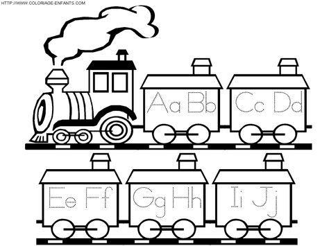 Dibujos Para Pintar Y Colorear Gratis – Un Tren Con Vagones Y