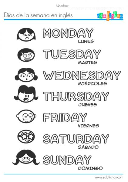 ▷ Días De La Semana En Inglés