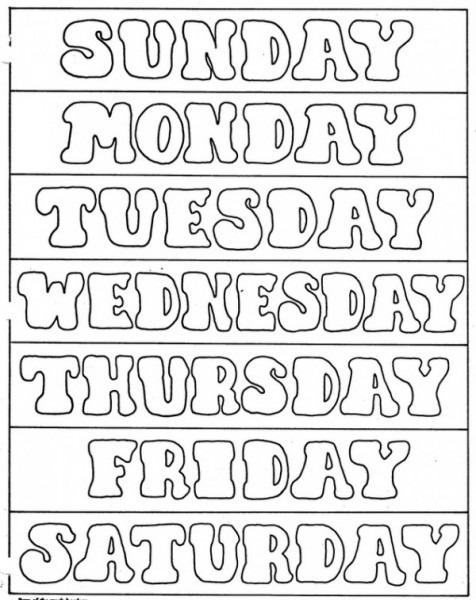 Los Días De La Semana Para Colorear