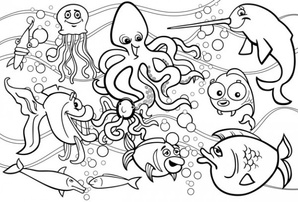 Dibujo Para Colorear Grupo De Animales Marinos