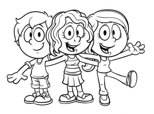 Amigos Abrazados Para Colorear Dibujos Para Colorear