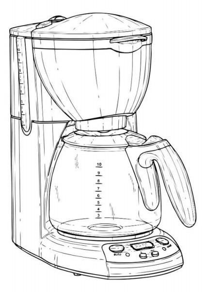 Dibujo Para Colorear Cafetera