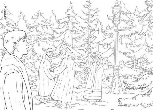 Dibujos Para Colorear Escena De El León, La Bruja Y El Armario