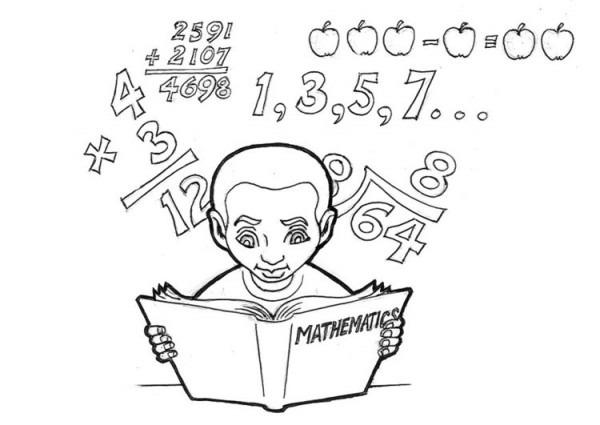 Dibujo Para Colorear Estudiando Matemáticas