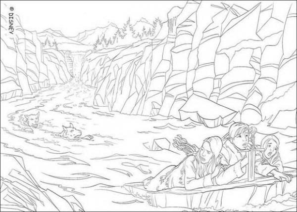 Dibujos Para Colorear Peter, Lucy Y Susan En El Agua