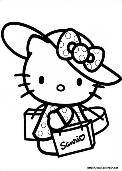 Dibujos Para Colorear Hello Kitty De Compras