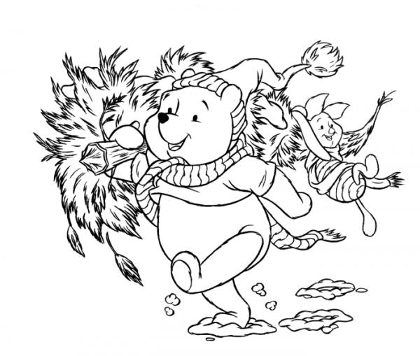 Dibujo Para Imprimir Y Colorear De Winnie The Pooh árbol De Navidad