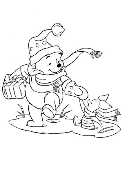 Dibujo Para Imprimir Y Colorear De Winnie The Pooh Y Piglet Navidad