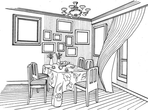 Dibujo De Comedor En Estilo Provenzal Para Colorear
