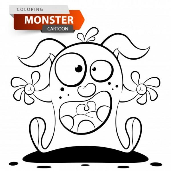 Divertido, Lindo, Loco Personaje De Monstruo De Dibujos Animados