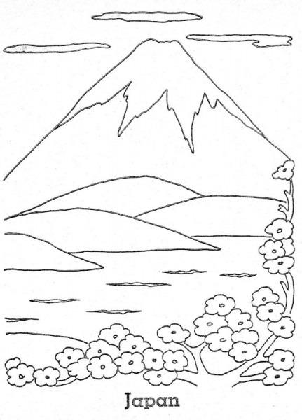 為孩子們的著色頁  Monte Fuji De Japón Para Colorear