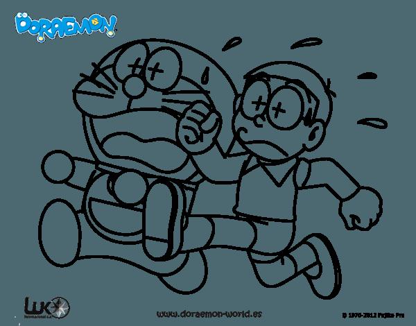 Dibujo De Doraemon Y Nobita Corriendo Para Colorear