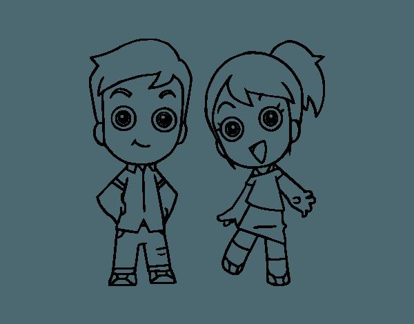 Dibujo De Dos Hermanos Para Colorear