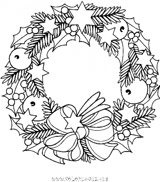 Corona De Navidad  6 (objetos) – Páginas Para Colorear