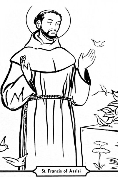 為孩子們的著色頁  Saint Francis Of Assis Coloring Pages
