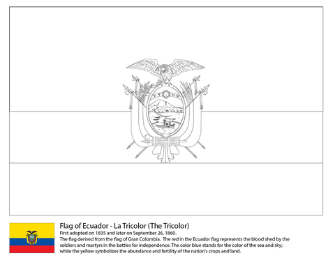 Dibujo De Bandera De Ecuador Para Colorear